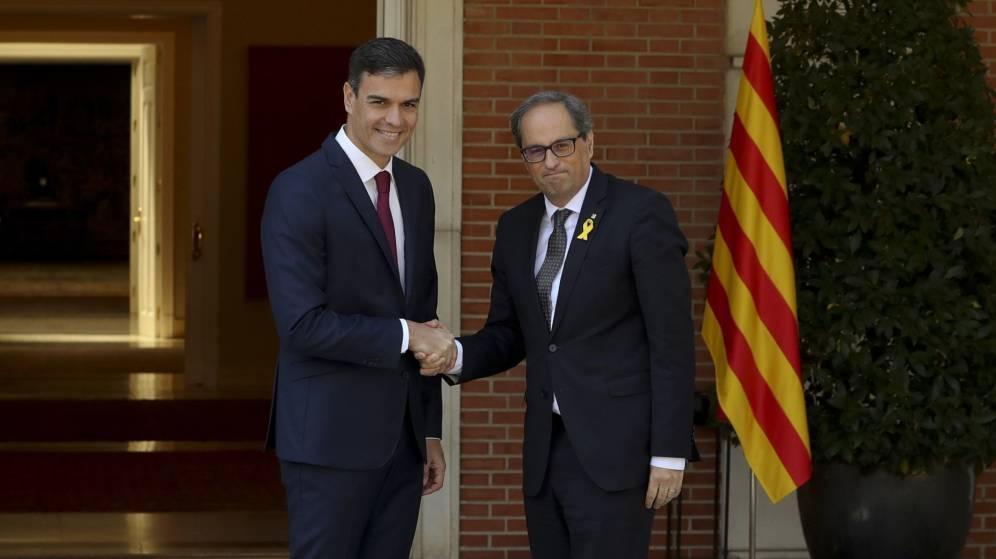 Photo de Pedro Sánchez/Quim Torra: perfil de un diálogo